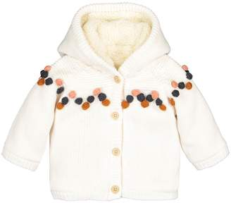 La Redoute Collections Warm Hooded Jacket with Pompoms, 1 Month-3 Years