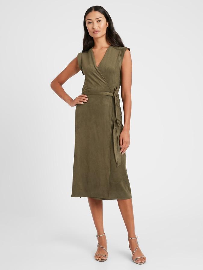 Banana Republic Vegan Suede Wrap Dress