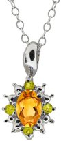 Gem Stone King 0.48 Ct Oval Yellow Citrine and Canary Diamond 18k White Gold Pendant