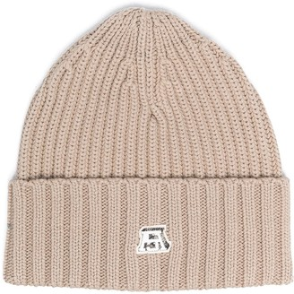 Acne Studios Logo-Patch Ribbed-Knit Beanie