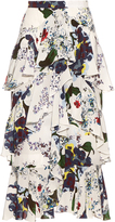 Erdem Simone Forget Me Not-print silk-crepe skirt