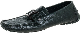 Louis Vuitton Green Crocodile Monte Carlo Loafers Size 42.5