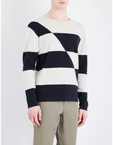 Closed Broken Stripe Knitted Cotton Jumper