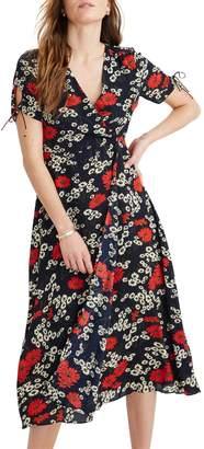 Madewell Hillside Daisies Peekaboo Sleeve Midi Dress