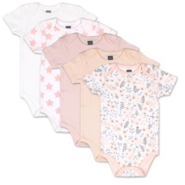 The Peanut Shell The Baby Girls Flowers Stars 5 Pack Short Sleeve Bodysuits