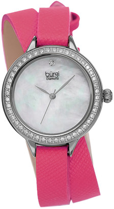 Burgi Women's Safiano Pattern Genuine Leather Double Wrap Strap Diamond Watch