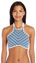 Jessica Simpson Women's Maritime Stripe High Neck Halter Bikini Top