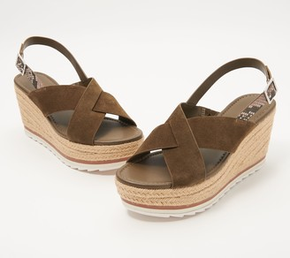 Marc Fisher Suede Cross-Strap Wedges - Zevra