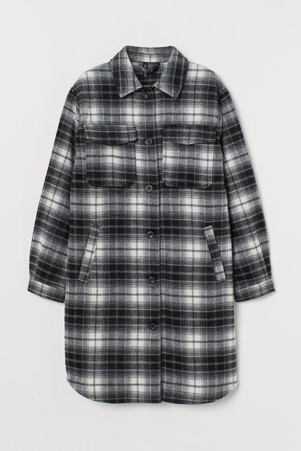 H&M Long Shirt Jacket - Black