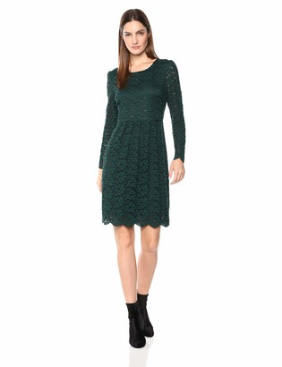 Lark & Ro Women's Long Sleeve Gathered Lace Fit and Flare Dress