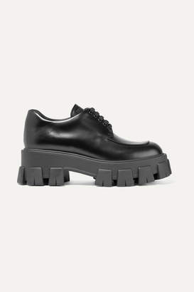 Prada Leather Platform Brogues - Black