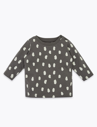 Marks and Spencer Cotton Dash Print Top (0-3 Yrs)