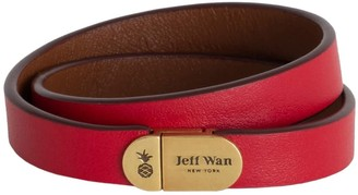 Jeff Wan Leather Bracelet With Magnetic Closure Red Manhattan