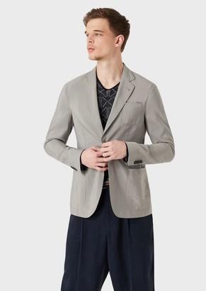Giorgio Armani Regular-Fit Upton Range Deconstructed Jacket In Plain-Colour Silk Blend Twill