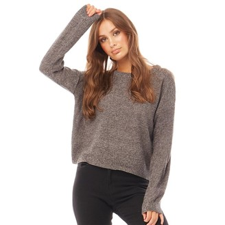 Brave Soul Womens Grunge Boxy Scoop Neck Jumper Mid Grey/Charcoal Twist