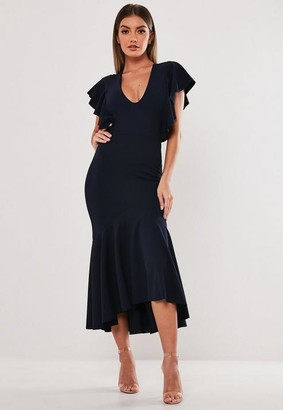 Missguided Navy Ruffle Hem Fishtail Midi Dress