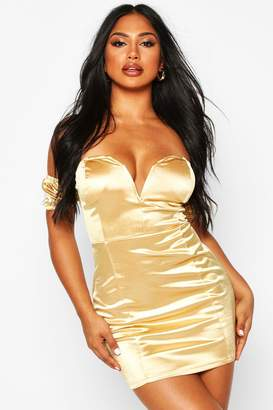 boohoo Stretch Satin Plunge V Bar Mini Dress