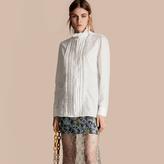 Burberry Ruff Collar Cotton Tulle Shirt