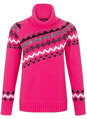 Tribal Long Sleeve Jacquard Turtleneck Sweater (Hot Pink) Women's Sweater