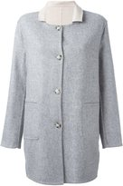 Closed contrast collar short coat - women - Acrylic/Nylon/Polyester/Virgin Wool - L