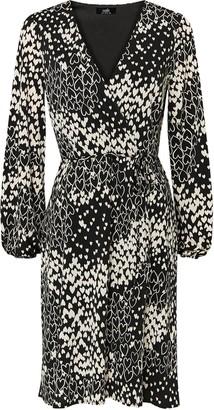 Wallis Stone Heart Print Wrap Dress