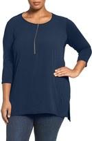 Vince Camuto Plus Size Women's Soft Texture Half Zip Top