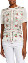 Tory Burch Floral Silk Printed Short-Sleeve Sweater