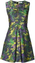 Versace metallic camouflage flared dress
