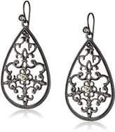 1928 Jewelry Jet Black Diamond Filigree Pear Shape Drop Earrings