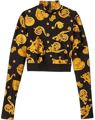 Versace Jewel Print Long Sleeve High Neck Crop Top (Black) Women's Clothing