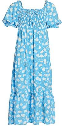 Faithfull The Brand Olinda Puff-Sleeve Floral Midi Dress