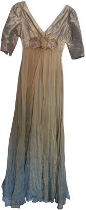 Teri Jon Beige Silk Dress for Women