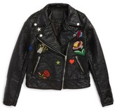 Blank NYC Girl's Blancnyc Embroidered Faux Leather Moto Jacket