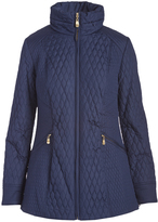 Ellen Tracy Navy Quilted Puffer Jacket - Plus