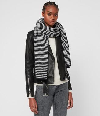 AllSaints Striped Wool Blend Scarf