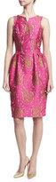Zac Posen Jacquard Pleated-Waist Sheath Dress, Pink