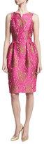 Zac Posen Jacquard Pleated-Waist Sheath Dress, Pink