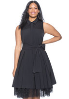 ELOQUII Plus Size Studio Fit & Flare Dress with Polka Dot Mesh