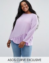 Asos Long Sleeve Blouse with Asymmetric Ruffle Detail