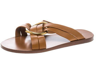 Chloé Brown Leather Rony Crisscross Flat Sandals Size 37