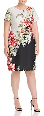 Adrianna Papell Plus Color-Blocked Floral A-Line Dress