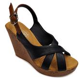 Black & Brown Wedge Sandal