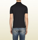 Gucci Black Cotton Jersey Polo With Web Print