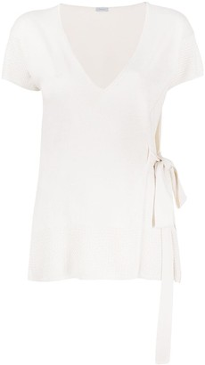 Malo Tie Front Open Stitch Detailed Top