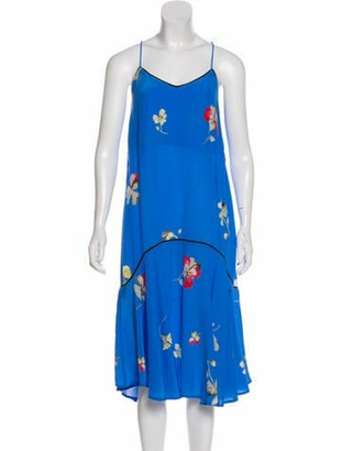 Ganni Silk Midi Dress w/ Tags blue