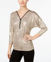JM Collection Metallic Zip-Front Top, Only at Macy's