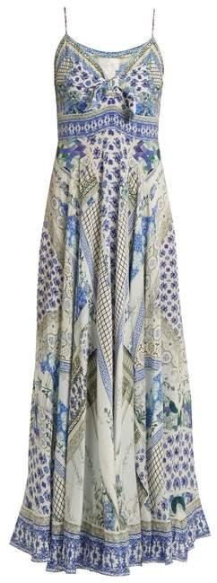 Camilla Salvador Summer Print Tie Front Silk Dress - Womens - Blue Multi