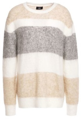 Line Striped Brushed Intarsia-knit Sweater