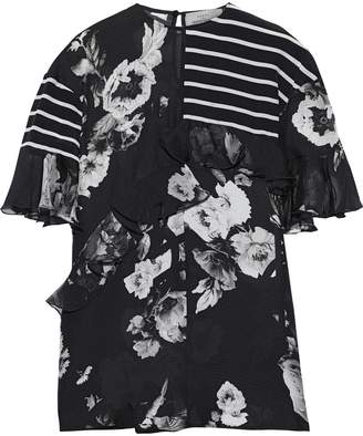 Preen by Thornton Bregazzi Ruffled-trimmed Printed Hammered-silk And Chiffon Blouse