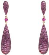 Latelita Coco Long Drop Earrings Ruby CZ Gold